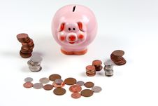 Free Pink Piggy Bank And Cash Stock Image - 6392771