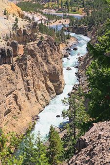 The Yellowstone River In Yellowstone NP Stock Photography