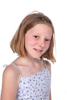 Free Freckled Little Girl With Small Smile Royalty Free Stock Photography - 6393077