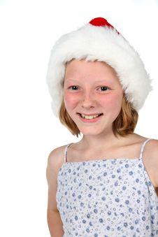 Free High Key Girl In Santa Hat Royalty Free Stock Images - 6393099