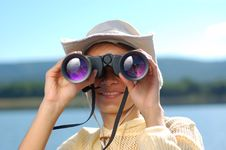 Free Woman With The Binoculars Over A Mountains Stock Photo - 6393550