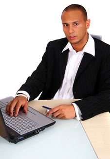 Free Young Businessman In Front Of Laptop Stock Photography - 6397392