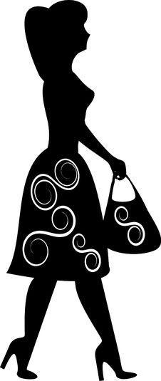 Free Shopping Girl Silhouette Royalty Free Stock Photos - 6397928