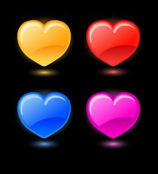 Set Of Vector Hearts On Black Background Royalty Free Stock Photography
