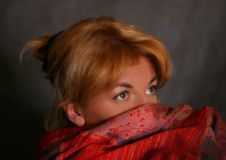 The Girl In A Red Scarf Stock Photography