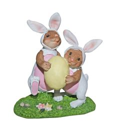 Easter Bunnies Carrying Egg - With Path Stock Photos