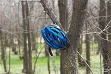 Biker Helmet In Spring Forest Royalty Free Stock Photo