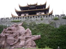 Free Chinese Ancient Attic With War Statue(wider Angle) Stock Photo - 648430