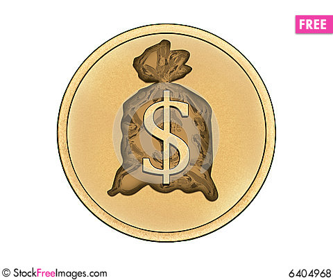 Free Coin With Big Money Symbol Royalty Free Stock Photos - 6404968