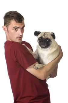 Free Man And Pug Dog Stock Images - 6400304