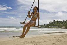Free Girl On Swing On The Beach Royalty Free Stock Photos - 6400458
