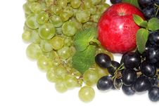 Green And Red Grapes And Apple Stock Photos