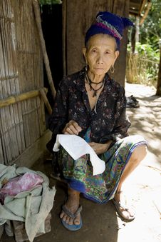 Old Hmong Woman In Laos Stock Photo