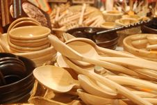 Handmade Wooden Spoon Royalty Free Stock Images