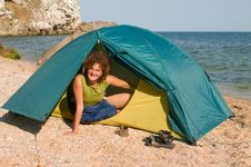 Smiling Woman In Tent At Sand Sea Beach Royalty Free Stock Image