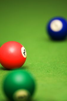 Pool Balls On Pool Table Stock Images