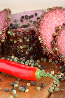 Salami With Pepper Grains Royalty Free Stock Photography