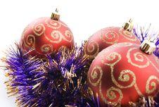 Free Three Red Christmas Balls Stock Photo - 6403990