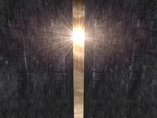 Alien Sun Rays And Futuristic Buildings Royalty Free Stock Image