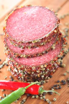 Free Salami With Pepper And Chili Royalty Free Stock Photography - 6404917