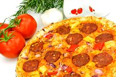 Free A Big Pizza With Cheese,salami,tomatoes Stock Image - 6405061