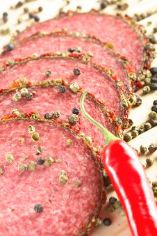 Slices Of Salami With Spice Royalty Free Stock Photo