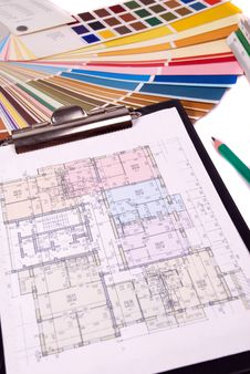 Free Blueprint Of House Plans Royalty Free Stock Photo - 6405955