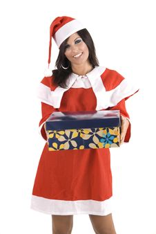 Pretty Claus Woman At Christmas Holding A Gift Box Stock Photography
