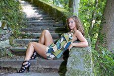 Free Beautiful Girl Posing On Steps Royalty Free Stock Image - 6406226