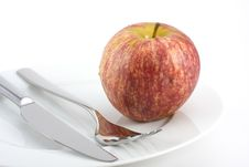 Free Cutlery And An Apple Stock Images - 6406464
