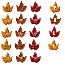 Free Fall Leaves With Percentages Off Stock Photos - 6407393