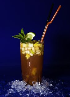 Coctail With Fruit Cubes Stock Photos