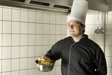 Free Chef Holding Noodles Royalty Free Stock Photography - 6409347