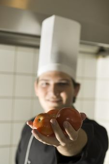 Free Chef With Tomatoes - Vertical Royalty Free Stock Photos - 6409558