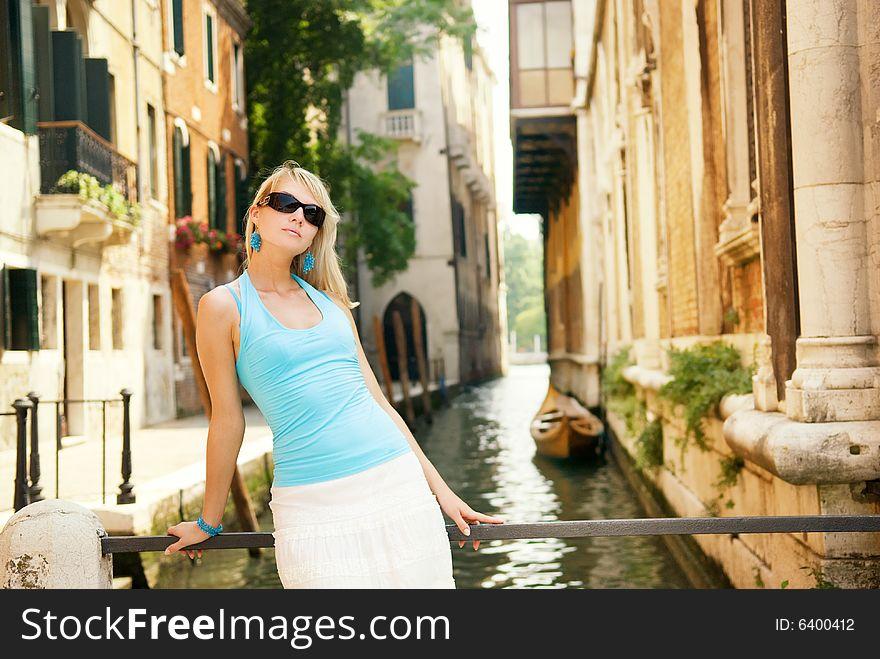 Woman relaxing in Venice