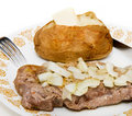 Free Steak And Onions With Baked Potato Royalty Free Stock Photo - 6418665
