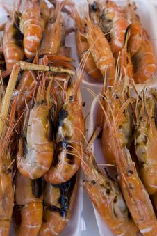Prawns Grilled On Paper Plate Stock Photography