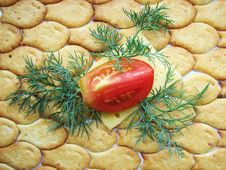 Free Cracker Cheese Tomato Royalty Free Stock Photos - 6410898