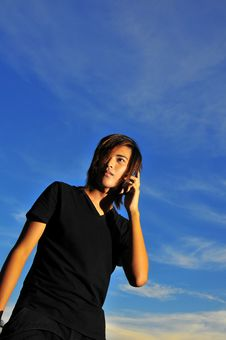 Free Asian On Phone 3 Royalty Free Stock Photos - 6411518