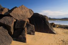 Free Many Big Stones On Bank Royalty Free Stock Images - 6411929