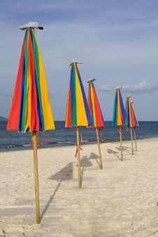 Umbrellas On The Beach Royalty Free Stock Photo