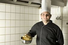 Free Chef Holding Noodles Stock Photos - 6413153