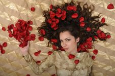 Free Woman With Petal On Golden Background Royalty Free Stock Photos - 6414568