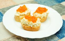 Free Caviar Sandwiches Stock Photography - 6415832