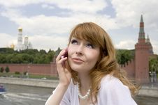 Free Beautiful Woman With The Phone Stock Photo - 6416140