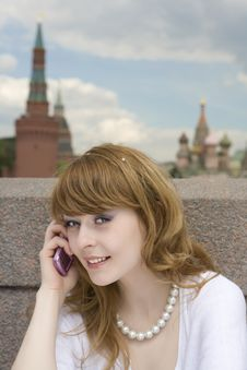 Free Beautiful Woman With The Phone Stock Image - 6416261