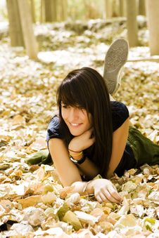 Free Young Woman In Autumn Background Stock Photos - 6417423