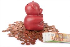 Free Red Piggy Bank With Coins And Euro Banknotes Royalty Free Stock Image - 6417576