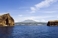 View Of Pico Island With Two Islets In The Foregro Stock Photography