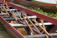 Free Oars Onboard Thai Long Boat Stock Photos - 6419693